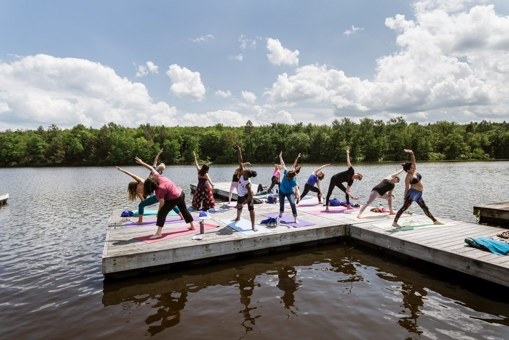 weekend getaway yoga on dock