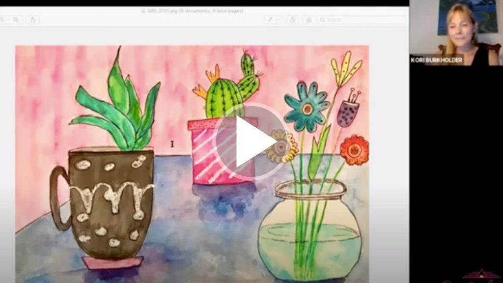 Kori Burkholder painting succulents.