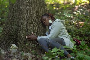 Woman forest therapy.