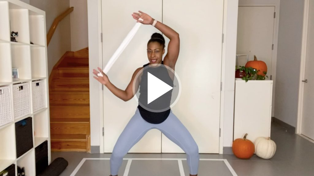 Marie Jasmin leading a total body workout.